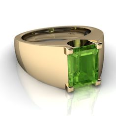 Peridot Men's 14K Yellow Gold Ring R1836 - front view