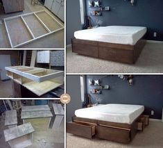 Maximize the space under your bed with this DIY platform bed with drawers!  Learn how it's made by viewing the full album including a link to instructions on our site at http://theownerbuildernetwork.co/0htd  Do you like this storage system? #diybedframeswithstorage
