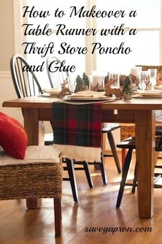 This is how to makeover a Thrift Store table runner by cutting the fringe from an old poncho and easily attaching it with glue. Easy Diy Crafts, Easy Diy Projects, Rustic Christmas, Christmas Ideas, Homemade Ornaments, Simple Rules, Affordable Home Decor, Table Runners, A Table