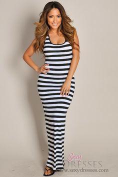 Sleeveless Black and White Stripes Crochet Maxi Dress