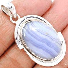Blue Lace Agate 925 Sterling Silver Pendant Jewelry BLAP658 - JJDesignerJewelry