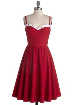 The Neyla Dress in Rouge. Named for Neyla of the fabulous folk-rock group, The Lumineers, this notable red dress comes to you byStop Staring! #red #modcloth