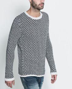 Image 1 of GEOMETRIC HERRINGBONE SWEATER from Zara