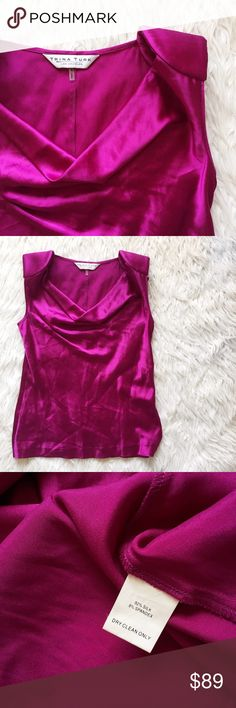 • Trina Turk • Purple Silk Top Stunning silk top with structured shoulders for a sophisticated look! Trina Turk Tops