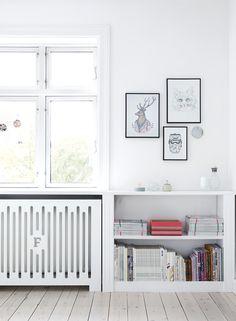 Radiator-height built-in shelving Built In Shelves, Built Ins, Modern Radiator Cover, Home Radiators, Deco Pastel, Guest Bedroom Office, Diy Home Decor, Room Decor, Beautiful Interior Design