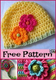 vBeautiful Crochet Flower Hats - Free Patterns #crochet #freepattern