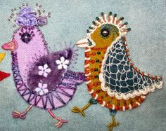 The weather was just for stitching (raining cats and dogs all day) so I did. Here are three more of the birds. To explain what the whole thi. Wool Applique Patterns, Crewel Embroidery Kits, Felt Applique, Vintage Embroidery, Beaded Embroidery, Embroidery Patterns, Fabric Birds, Felt Fabric, Vogel Quilt