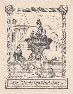 Lhota, Josef (1895-1982): Ex Libris Ing. Rud. Solc. Biedermeier-Paar an barockem Brunnen vor Häuserzeile, oben jweils eine kleine Maske.