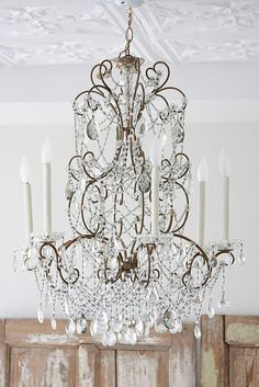 Beautiful vintage crystal chandelier   |   Dreamy Whites