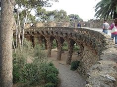 Bridge by Gaudi at Parc Guell in Barcelona, Spain