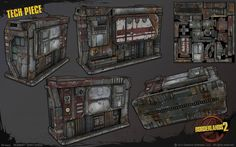 Weapon And Props of Borderlands 2 by Gearbox Software Borderlands 1, 3d Model Character, Study Design, Post Apocalyptic, Game Design, Art Direction, Game Art, Weapons, Concept Art