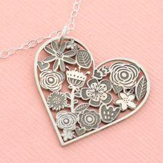 Flower Heart Cutout Necklace