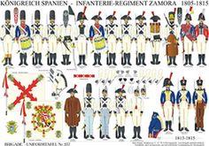 Planche 237: ROYAUME D'ESPAGNE: RÉGIMENT D'INFANTERIE ZAMORA 1805-1815