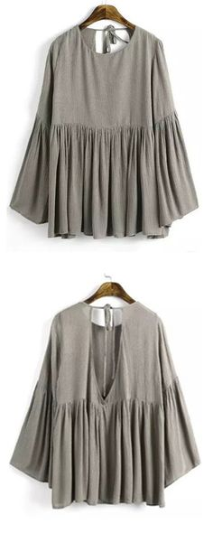 What more would a girl want then a peplum blouse! This top is so beautiful. Lightweight and long. Everything is lined but the bell sleeves. It will be your new favorite go to shirt! Click m.shein.com