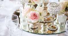 Pale pink, crystal and grey is perfect for a vintage-style wedding theme © enchantingwood