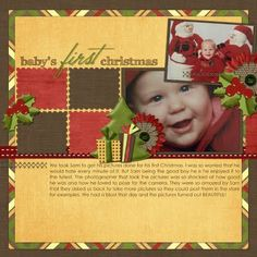 baby boy scrapbook layout ideas | digital scrapbooking freebies Babys First Christmas