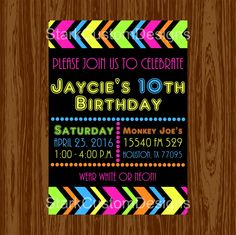 Neon Birthday Party Invitation - Glow in the Dark - Digital Party Invitation - Printable by StarkCustomDesigns on Etsy