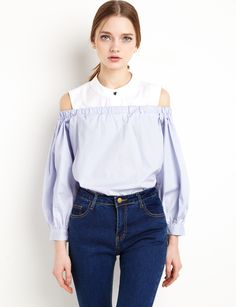 Balloon Sleeve Cut out Shoulder Top #fashion #pixiemarket