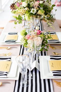 gold, navy stripe, white. very crisp for a party.