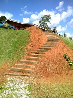 Steep Hillside Landscaping, Sloped Backyard Landscaping, Terraced Landscaping, Sloped Yard, Hillside Garden, Garden Paths, Landscaping Ideas, Landscape Stairs, House Landscape