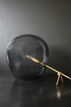 Brass & Smoked Glass Tripod Table Lamp - Table Lamps - Lighting  Rockets st george