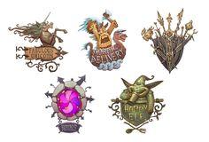 ArtStation - Signboards, Vsevolod Slavutych Prop Design, Game Design, Sign Board Design, Game Icon, Game Logo, Game Art, Fairy Tales, Concept Art, Fantasy