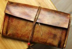 Handmade men vintage rustic simple envelope Stitched leather long wallet for men