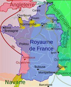 Carte du royaume de France au début de la guerre de Cent Ans vers 1330 : cliquer sur l'image pour la voir en grand format
