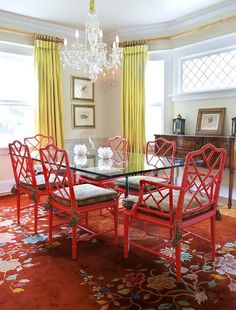 #colorful #dining room, thinking of updating my dining room just add some lovely red dining chairs!