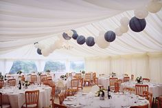 Decorated wedding marquee at Trevenna Barns, Cornwall.  Full post on www.pastiesandpetticoats.co.uk  Photo by Richard Rayner
