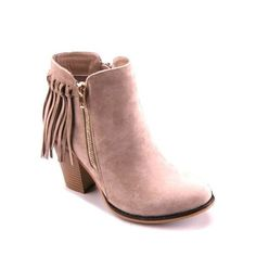 Fantastic Fringe Bootie in Stone Taupe