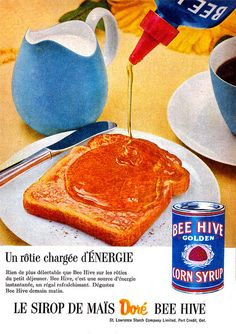 Vintage French ad for Bee Hive Corn Syrup (1957).