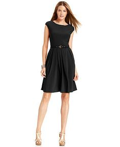 Alfani Petite Dress, Cap-Sleeve Boat-Neck A-Line - Petite Dresses - Women - Macy's