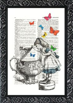 Alice in wonderland decorations nursery print on an vintage french dictionary page, dictionary book print for your wall (361)