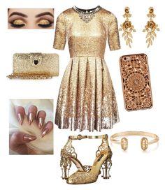 """#gold #glitters"" by sanikova on Polyvore featuring Matthew Williamson, Dolce&Gabbana, Felony Case, Betsey Johnson, Oscar de la Renta and Kendra Scott"