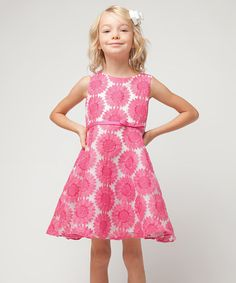 Look what I found on #zulily! Fuchsia Embroidered Daisy A-Line Dress - Toddler & Girls #zulilyfinds