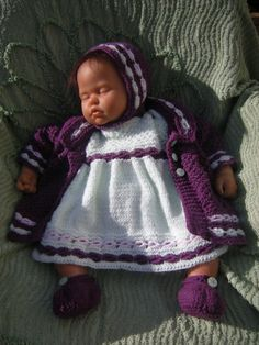 lovely mint and purple knitted 4 piece set to fit by lottycrochet, £22.00