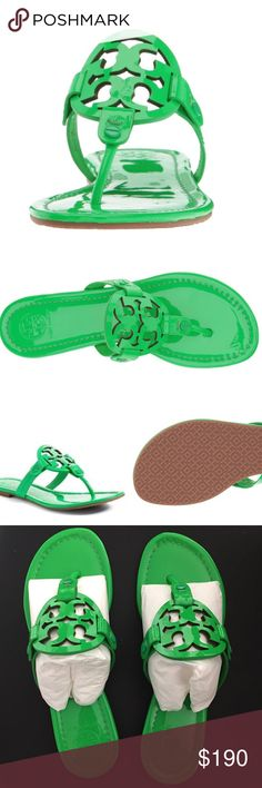 ⭐️NWT⭐️ Tory Burch Millers Leather thong sandal.  Signature brand logo cut out at instep. Slip on design. Smooth leather lining.  Lightly padded leather footbed. Textured synthetic outsole.  ✅Listed product is original. ✅Comes with box, dustbag and original packaging.   Color : Fluo Green Tory Burch Shoes Sandals