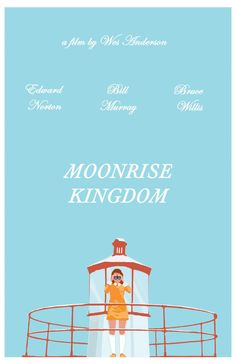 This poster is a tribute to Wes Andersons charming, award winning film, Moonrise Kingdom. The story revolves around an eccentric pubescent love
