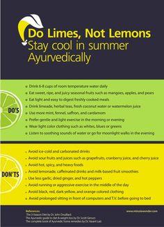 Do #Limes, Not #Lemons: #Ayurvedic Tips For #Summer – #Infographic.