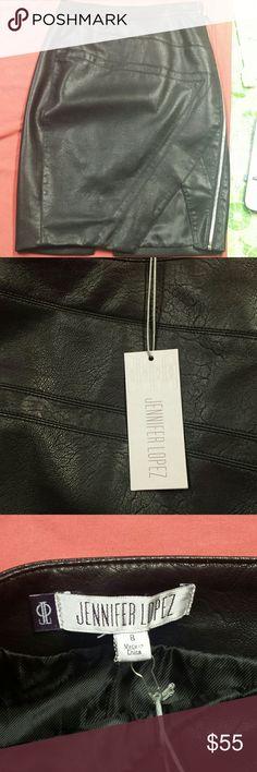 Jennifer lopez leather  pencil skirt side zipper Jennifer lopez leather side zippered pencil skirt .product on hand brand new with tags unused Jennifer Lopez Skirts Midi