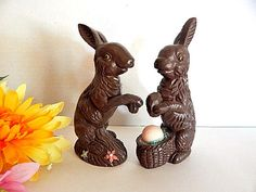 Brown Bunny Rabbit Figurines Chocolate Colored by Holiday365