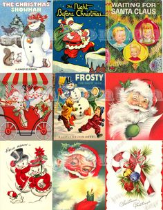 Digital Collage Sheet of Vintage Retro Christmas Cards & Books - INSTANT DOWNLOAD. $2.99, via Etsy.