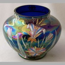 """Bohemian floral enameled iridized blue art glass vase, 5 1/4"""" h. Avail from Nickadaemous Glass Antiques @ www.rubylane.com <3<3<3GORGEOUS<3<3<3 @"""