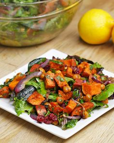 Sweet Potato And Chickpea Salad Recipe by Tasty - Salat Chickpea Salad Recipes, Vegetarian Recipes, Healthy Recipes, Tasty Salad Recipes, Vegetarian Salad, Quinoa Salad, Delicious Recipes, Salad With Sweet Potato, Sweet Potato Recipes