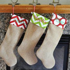 Personalized Burlap Christmas Stocking Fabric Cuff Personalized Christmas Stocking