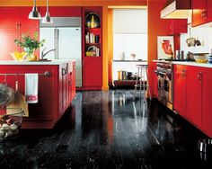 ORANGE RED AND BLACK KITCHEN...VERY COOL
