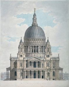 size: Giclee Print: West Front of St Paul's Cathedral, City of London, 1780 by Thomas Malton II : Artists Architecture Antique, Neoclassical Architecture, Renaissance Architecture, Classic Architecture, Historical Architecture, Architecture Details, Sustainable Architecture, Contemporary Architecture, Contemporary Design