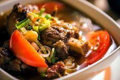 Oxtail and barley soup (sop buntut) recipe Indonesian Cuisine, Indonesian Recipes, Oxtail Soup, Sbs Food, Fried Shallots, Fish Soup, Carrots And Potatoes, Barley Soup