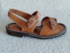The original 1970S vintage childrens unisex jesus sandals in brown leather, remember them well